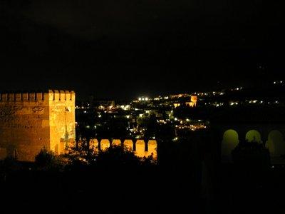 Desde la Alhambra de noche. Foto de Mario, 9 de agosto de 2007 (publicada em picasaweb.google/mmerlan)