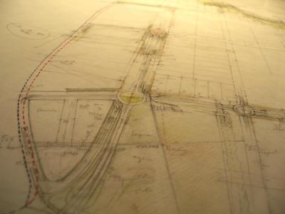 El plano a mano de la ordenación de un espacio industrial (lápices, escalímetro, escuadra y cartabón: MS, 2009)