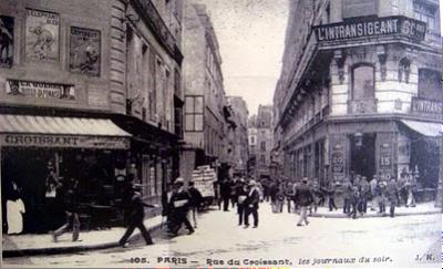 Rue du Croissant, París, una zona vinculada a Zola, Victor Hugo, L´Aurore y el periodismo francés. Y también, como se ve, a los cruasanes (imagen procedente de parisdeuxieme.com)