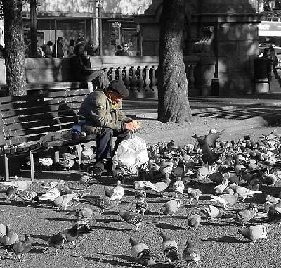 Anciano alimentando palomas. Foto de Malena_c en flickr.com.