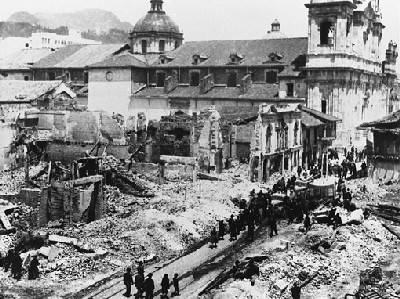 Así quedó el centro de Bogotá tras los incendios del 9 de abril de 1948 (imagen procedente de lablaa.org)