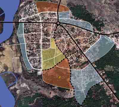 Dibujo realizado por el autor sobre composición de tomas de Google Earth