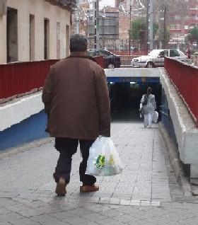 Bajando al paso peatonal de Labradores (Valladolid, 7 de diciembre de 2007. Foto: MS).