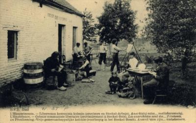 El pie de la postal dice: Colonia comunista libertaria de Stockel-Bois (imagen cargada por Creagh Ronald en raforum.info).