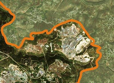 Nueva urbanización en Cisjordania. Elaboración propia sobre imagen de Google Earth.